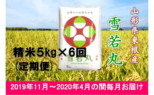 2019年産[精米・定期便]雪若丸5kg×6回(2019年11月~2020年4月の間毎月お届け)JA産直提供