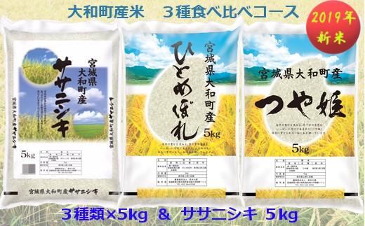 【04421-0066】【2019年新米】大和町産米3品種食べ比べ Bコース<20kg一括配送>