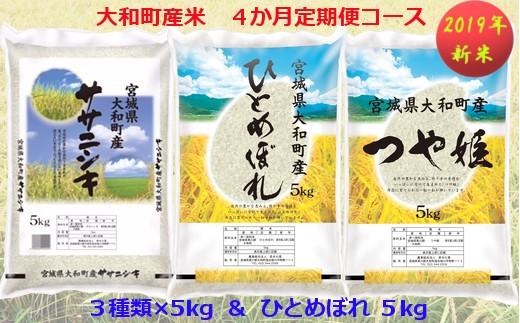【04421-0071】【2019年新米】大和町産米3品種 4カ月定期便 Aコース ( 5kg × 4回 )