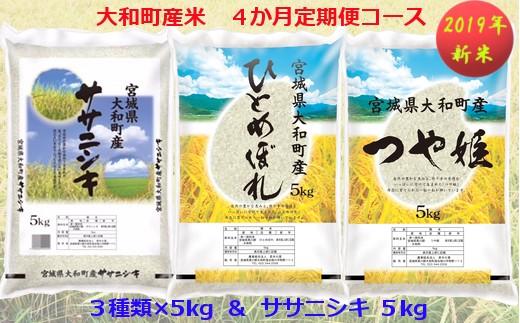 【04421-0072】【2019年新米】大和町産米3品種 4カ月定期便 Bコース ( 5kg × 4回 )