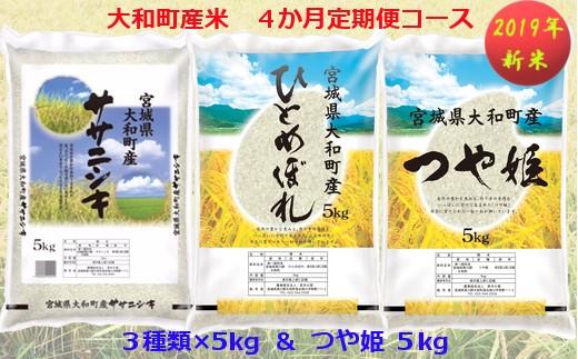 【04421-0073】【2019年新米】大和町産米3品種 4カ月定期便 Cコース ( 5kg × 4回 )