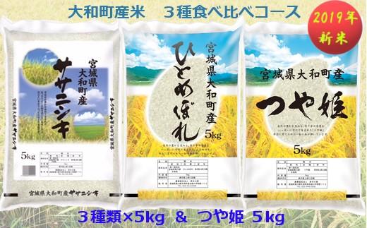 【04421-0067】【2019年新米】大和町産米3品種食べ比べ Cコース<20kg一括配送>
