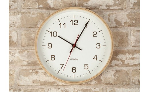 【A-43】KATOMOKU シンプルな木枠電波時計