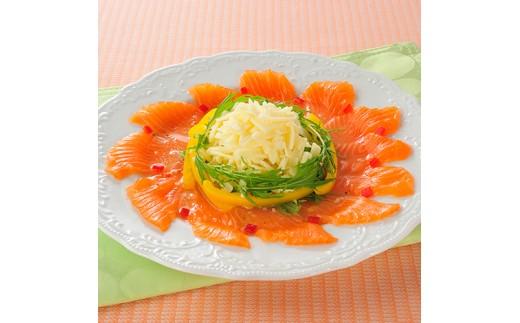 クワトロフォルマッジでサーモンのカルパッチョの調理イメージ