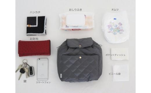 バッグに入る荷物の例〈色:グレー〉