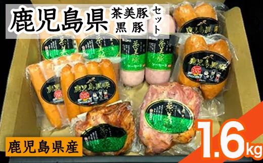 鹿児島黒豚・茶美豚ローストポーク、ソーセージセット(全5種・1.6kg超)