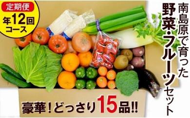 豪華!野菜セット定期便 年12回【毎月コース】  旬の野菜・フルーツ・キノコを15品目 盛り合わせ!