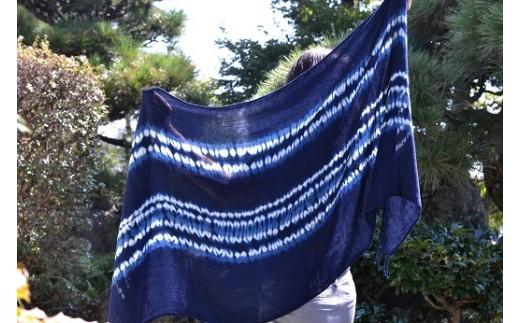 11-4 阿波藍ストール(つまみ縫い絞り)