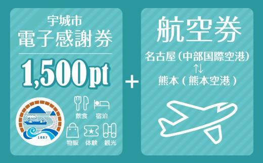 名古屋(中部国際空港)⇔熊本(熊本空港)往復航空券+電子感謝券1,500pt