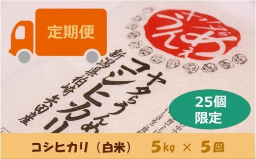 [D533]【定期便】ヤタらうんめぇ コシヒカリ 白米 (5㎏×5回)