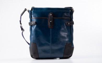 豊岡鞄 帆布PU×皮革ショルダー(24-133)  ブルー