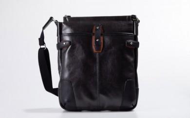豊岡鞄 帆布PU×皮革ショルダー(24-128) ブラック
