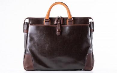豊岡鞄 帆布PU×皮革ソフトブリーフ(24-110) チョコ