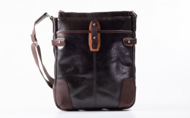 豊岡鞄 帆布PU×皮革ショルダー(24-129)  チョコ