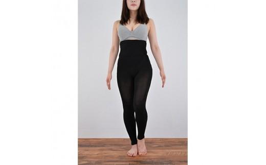 日本製 絹 おなかもひざもよろこぶあったかシルクレギンス ブラック<631-7162(A1-23)>【1088653】