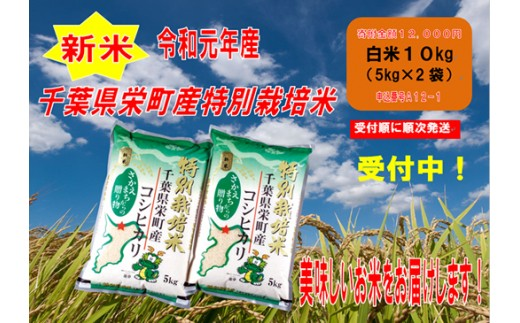 【ふるさと納税】A12-1 ちば緑耕舎令和元年産新米 栄町産特別栽培米コシヒカリ10kg(5kg袋×2)※令和元年10月から受付順に順次発送