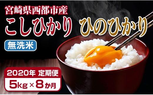 【2020年8ヶ月定期便】宮崎県産ヒノヒカリ・コシヒカリ無洗米 5kg×8回<6-10>