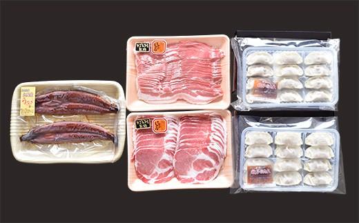 493-1 黒豚1㎏・黒豚ギョーザ・うなぎ蒲焼2尾セット