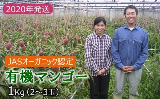 【有機JAS認定】有機マンゴー1kg 2~3玉【2020年発送】