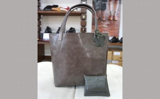 832-004 革製オリジナルトートバッグ 小(裏地無し・ポケット無し)+コインケース