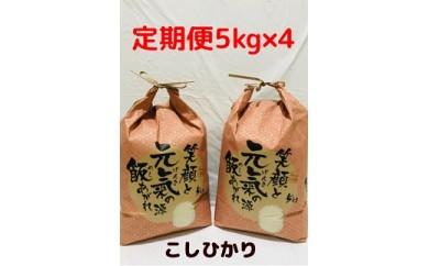 【農家の嫁厳選】 ☆幸せ手こまい定期便(コシヒカリ5kg×全4回)