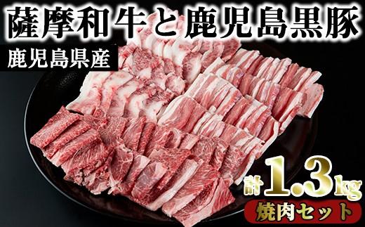 No.423 数量限定!<薩摩和牛と鹿児島黒豚!合計1.3kg>焼肉セット(肩ロース バラ焼肉用500g・モモもしくはカタ焼肉用 400g・黒豚バラ焼肉用 400g)【さつま屋産業】