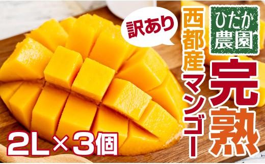 【数量限定】ひだか農園「訳あり」宮崎県西都産 完熟マンゴー 2L×3個入<1−124>