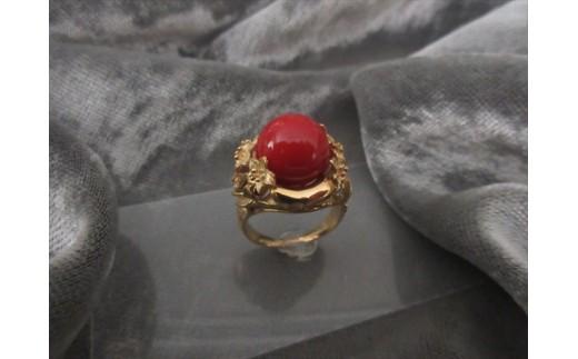 血赤珊瑚玉 K18リングC