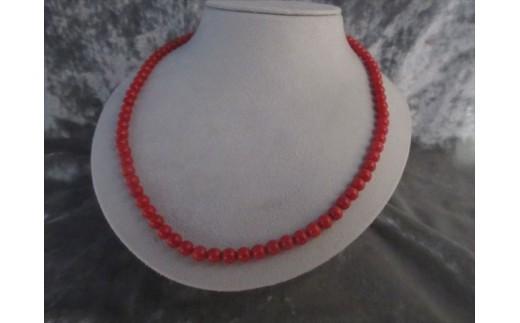 赤玉ロングネックレス 80cm