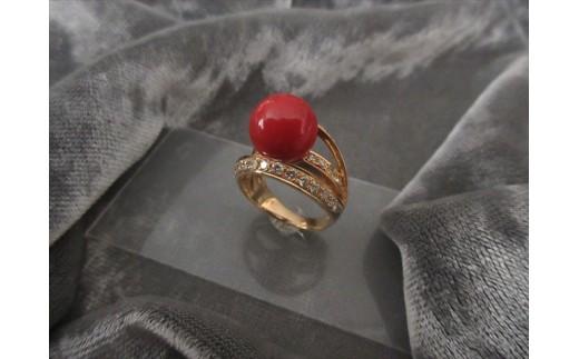 血赤珊瑚玉 K18リングB