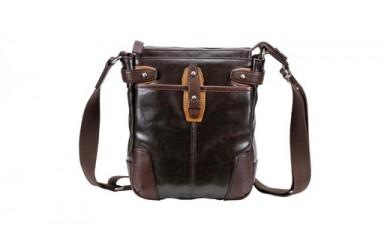 豊岡鞄 帆布PU×レザーショルダーS(24-170)チョコ