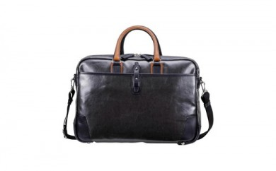 豊岡鞄 帆布PU×レザーソフトブリーフ2Room(24-156)ブラック
