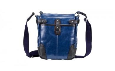 豊岡鞄 帆布PU×レザーショルダーS(24-170)ブルー