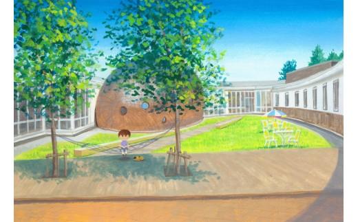 町の図書館「絵本の館」です。絵本の原画展や体験教室を数多く開催しています。カフェや木のプールもあり、子供も大人も楽しめる施設です