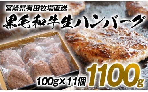 宮崎県有田牧場和牛100%生ハンバーグ100g×11個セット<1-82>