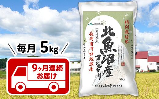 T05-9【9ヶ月連続お届け】北魚沼産コシヒカリ特別栽培米5kg(長岡川口地域)