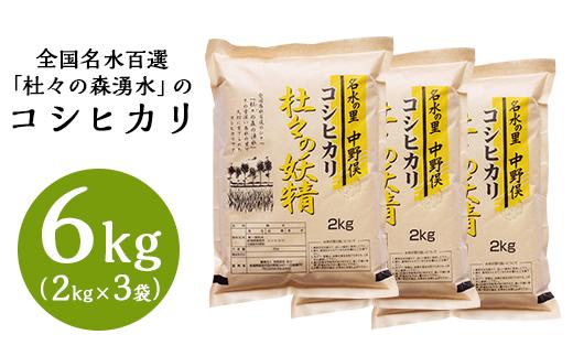 43-03杜々の妖精コシヒカリ6kg(2kg×3袋)全国名水百選栃尾産