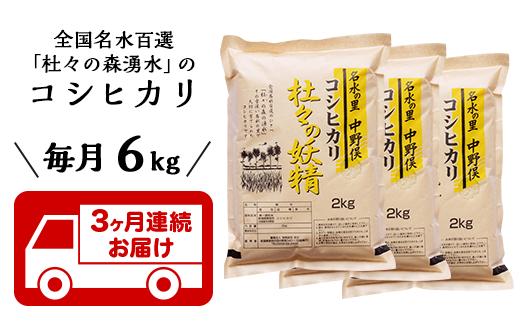 【3ヶ月連続お届け】杜々の妖精コシヒカリ6kg(2kg×3袋)全国名水百選栃尾産