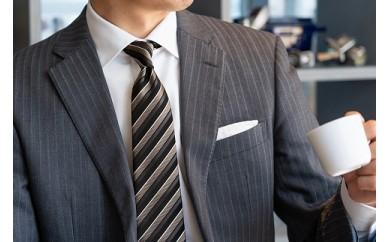 【受注生産】匠の技術で織り上げるシルク100%のテクスチャーストライプネクタイ(モノトーン)
