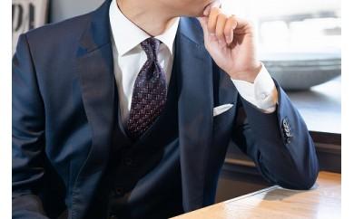 【受注生産】匠の技術で織り上げるシルク100%のビンテージ小紋柄ネクタイ(オレンジコーナー)