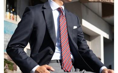 【受注生産】匠の技術で織り上げるシルク100%のテクスチャーストライプネクタイ(レッド×ネイビー)