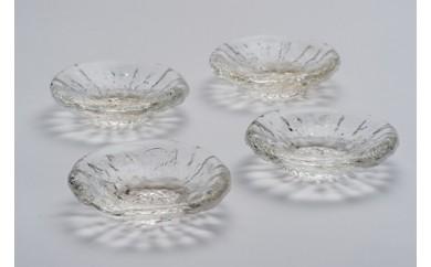 【沖縄琉球ガラス】豆皿(中)4個セット <沖縄県認定工芸士 屋我平尋作>