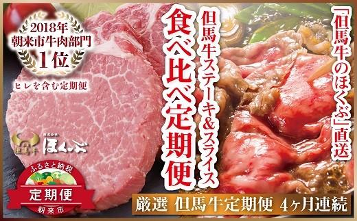 H-2 個包装で便利♪ 但馬牛ステーキ&スライス 食べ比べ定期便(4ヶ月連続お届け) ■1頭から約3%しかとれない希少部位ヒレを含む!