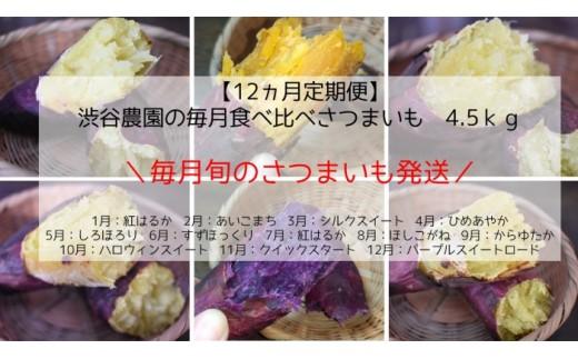 【12ヵ月定期便】渋谷農園の毎月食べ比べさつまいも 4.5kg