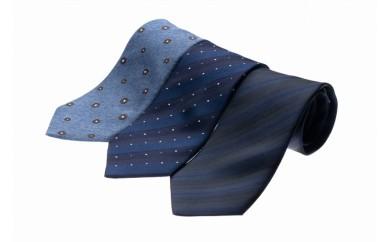 シルク100%で胸元を際立出せる ブルー系ネクタイ3本セット
