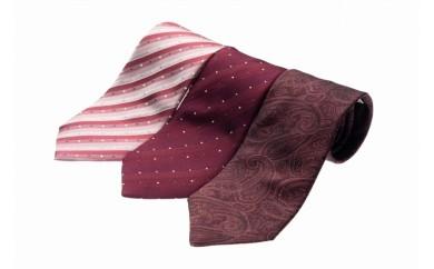 シルク100%で胸元を際立出せる レッド系ネクタイ3本セット