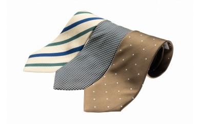 シルク100%で胸元を際立出せる ベージュ系ネクタイ3本セット