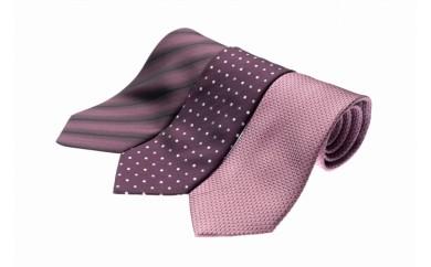 シルク100%で胸元を際立出せる パープル系ネクタイ3本セット