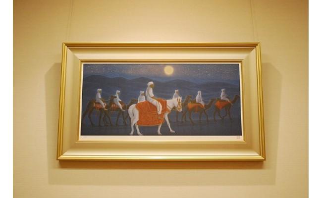 大シルクロードシリーズの中の1点。アフガニスタンの夜の砂漠を歩く駱駝の隊商を描いた絵画(リトグラフ)。