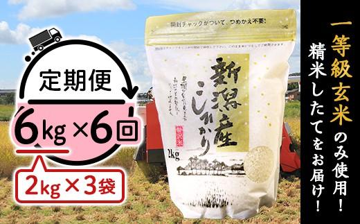 【6ヶ月連続お届け】新潟県産コシヒカリ6kg(2kg×3袋)